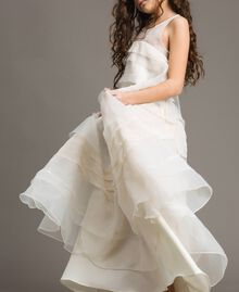 Georgette and organza long dress Pale Cream Child 191GJ2QD0-04