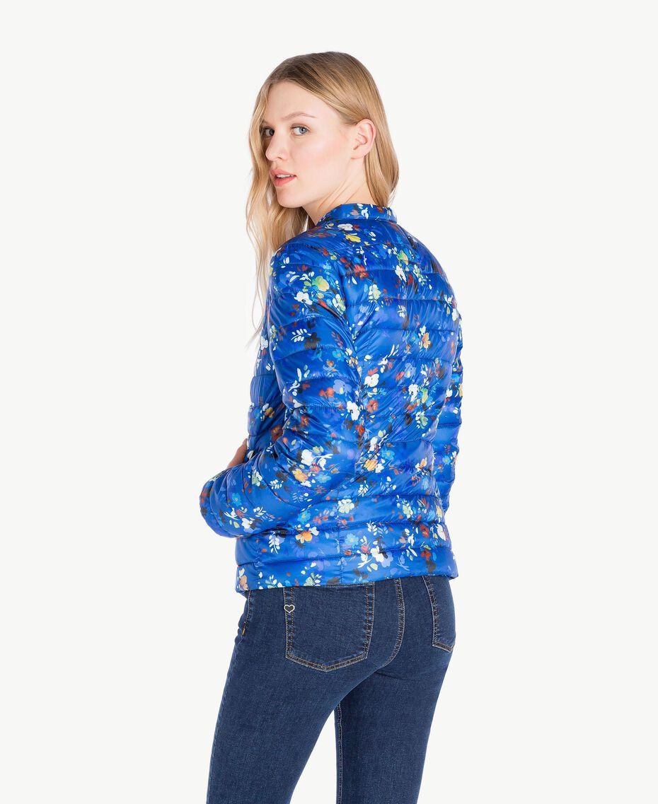 Daunenjacke mit Print Multicolor-Blumen Lapislazuliblau Frau JS82BA-03