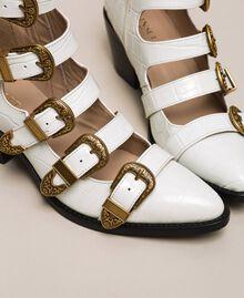 "Leather Texas boots with crocodile print ""Snow"" White Crocodile Print Woman 201TCP05A-03"
