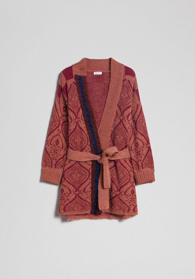 Maxi cardigan en laine et mohair jacquard