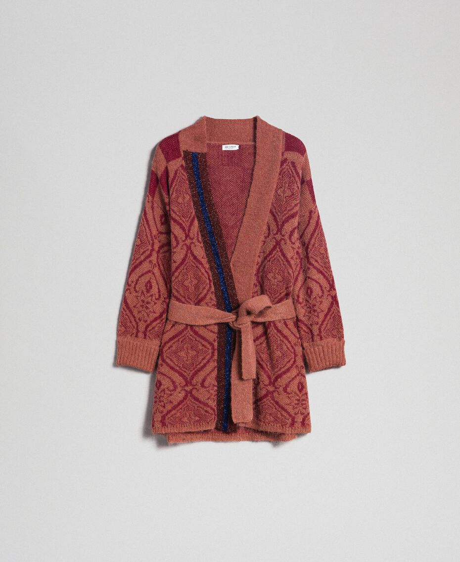 """Jacquard mohair and wool maxi cardigan """"Sequoia"""" Beige Jacquard / Red Earth Woman 192ST3130-0S"""
