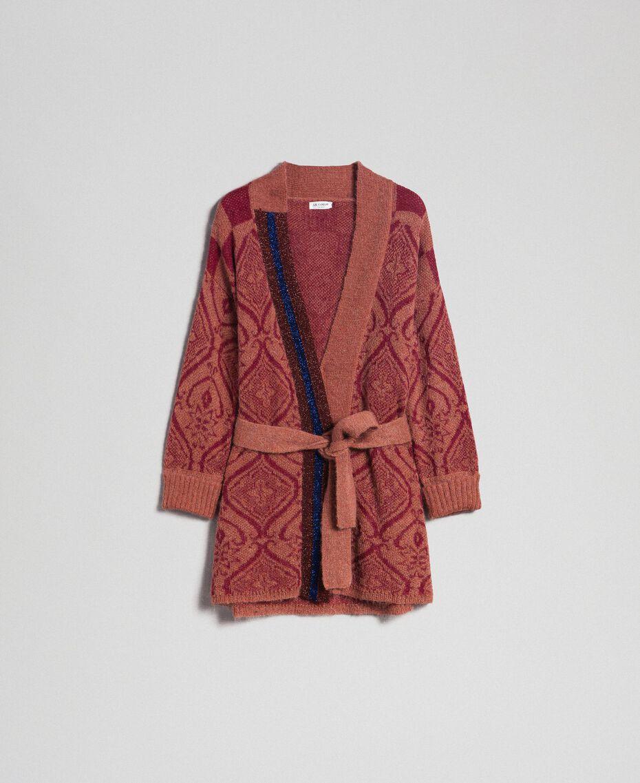 Maxi-Jacquardcardigan aus Wolle und Mohair Jacquard Sequoia-Beige / Rote Erde Frau 192ST3130-0S