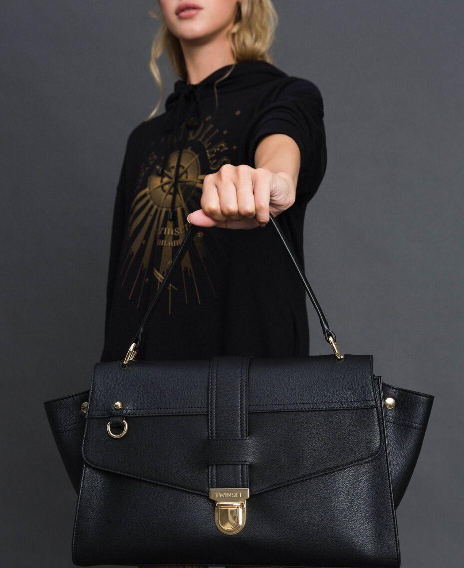 Faux leather satchel bag with flap Black Woman 192TA7130-0S