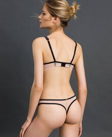 Tulle G-string with embroidery Mousse Pink Woman 192LI6688-03