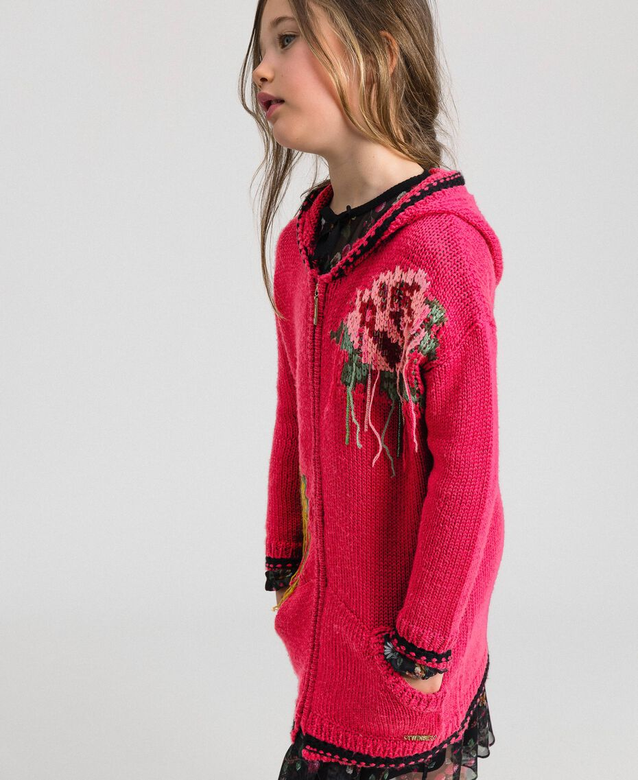 "Wool blend maxi cardigan with rose inlay ""Candy"" Fuchsia/ Black Child 192GJ3021-02"