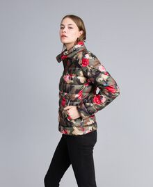 Printed light padded jacket Camouflage Flower Rose Print Woman JA82AN-02