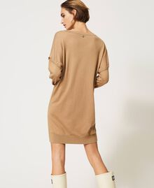 """Knit dress with removable sleeves """"Dune"""" Beige Woman 202MP3032-04"""