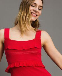 "Long crêpe dress with flounces ""Lipstick Red"" Woman 191TT3022-04"