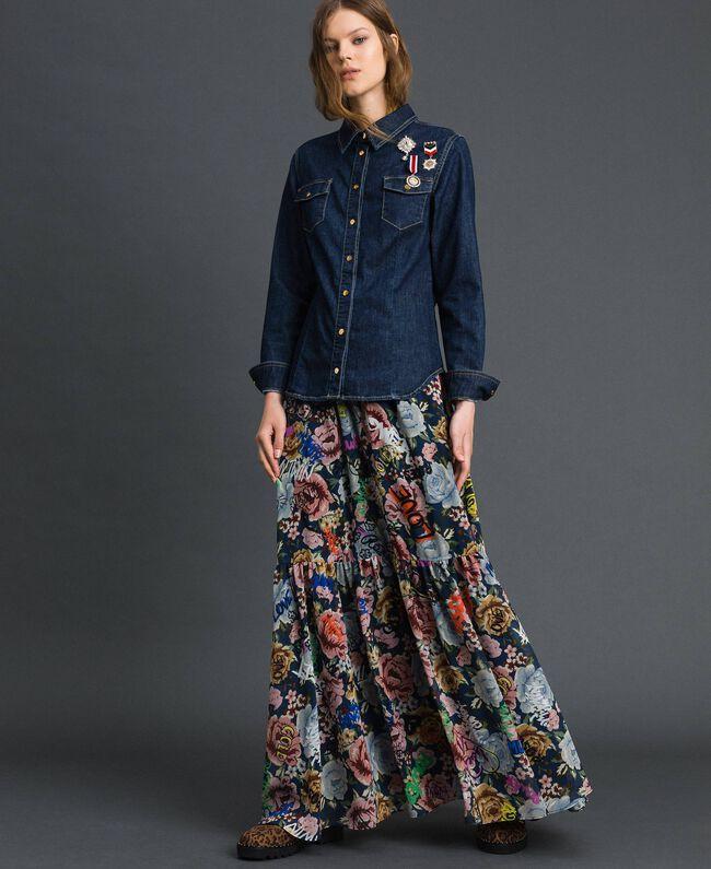Джинсовая рубашка с брошами в стиле милитари Синий Деним женщина 192MP2342-04