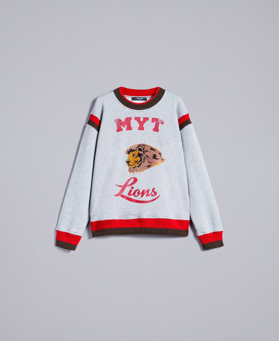Sweat en coton avec imprimé et broderie Multicolore Gris Chiné / Rouge Coquelicot / Vert Alpin Homme UA82DC-0S
