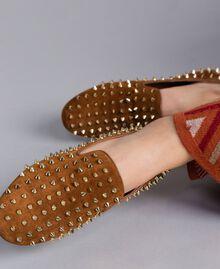 Slippers in pelle scamosciata con borchie Bruciato Donna CA8TFJ-0S