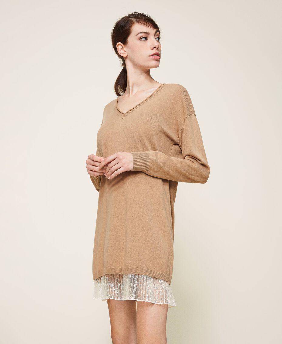 Vestido de lana mixta con plisados Bicolor Beige «Duna» / Blanco Nata Mujer 202MP3091-02