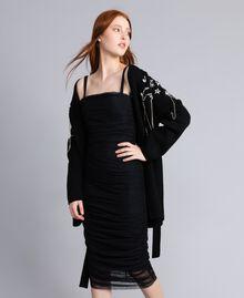 Wool-blend embroidered maxi cardigan Black Woman QA8TJP-0T