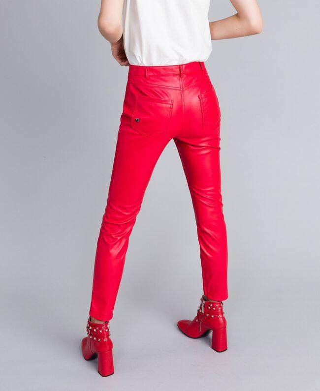 Bikerhose aus Lederimitat Rot Mohn Frau JA82DE-03