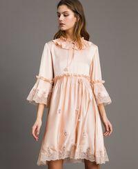 Seiden-Satin-Kleid mit Spitzenbesatz