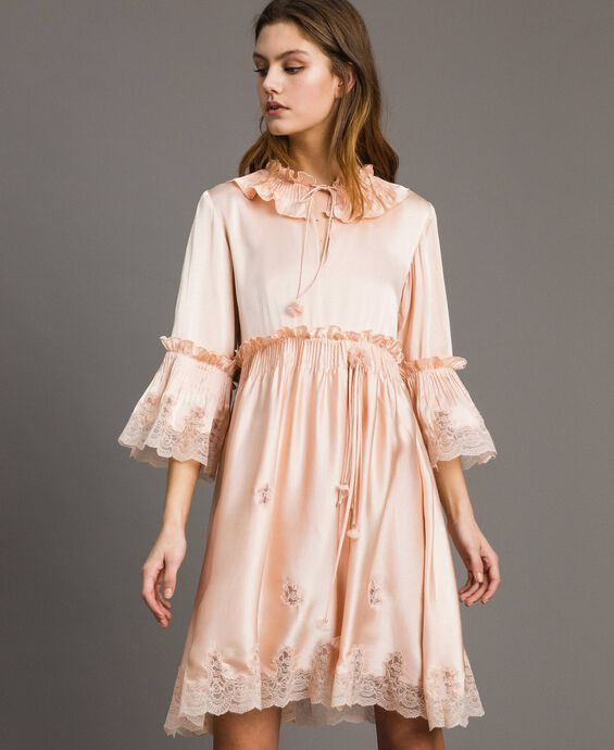 Silk satin dress with lace trims