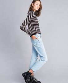 """Two-tone striped cardigan with ruches Black / """"Cloud Pink Stripe Woman JA83BR-02"""