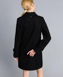 Manteau en drap avec broderie Noir Femme SA82RD-04