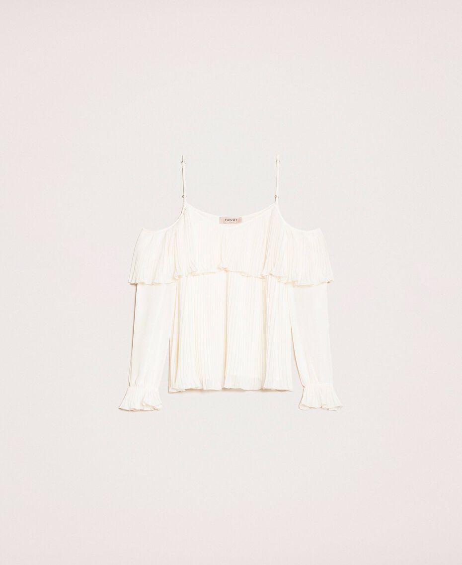 Blouse en crêpe georgette plissé Blanc Antique White Femme 201TT2090-0S
