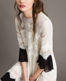 Robe en georgette agrémentée de dentelle Bicolore Blanc Neige/ Noir Femme 191TT2102-01
