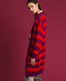 Striped mohair maxi cardigan Beet Red / Pomegranate Stripe Woman 192TP3272-03