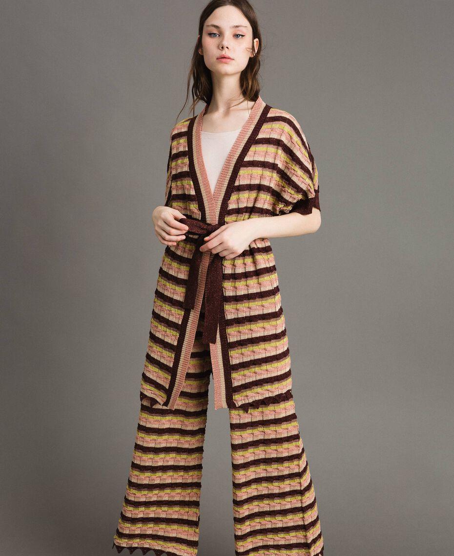 """Cardigan à rayures multicolores en lurex Multicolore Marron """"Poudre De Bronze"""" Femme 191LB3ADD-01"""