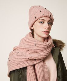 """Knit beanie with pearls and bezels """"Intense Nude"""" Pink Woman 202TO5110-0S"""