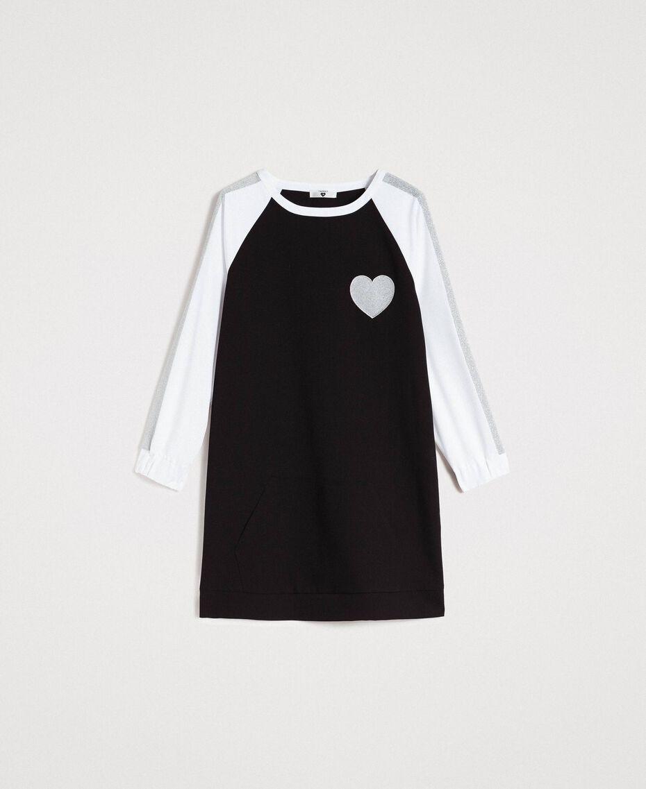 Robe bicolore en gabardine Bicolore Noir / Blanc Optique Femme 191LL25DD-0S
