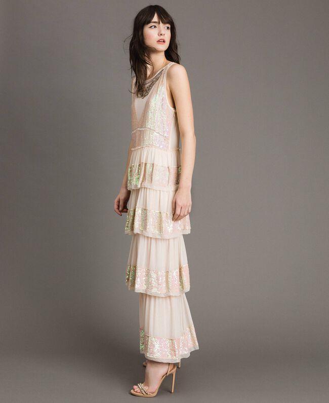 Robe longue en georgette ornée de sequins Rose Bouton Femme 191TP2580-03