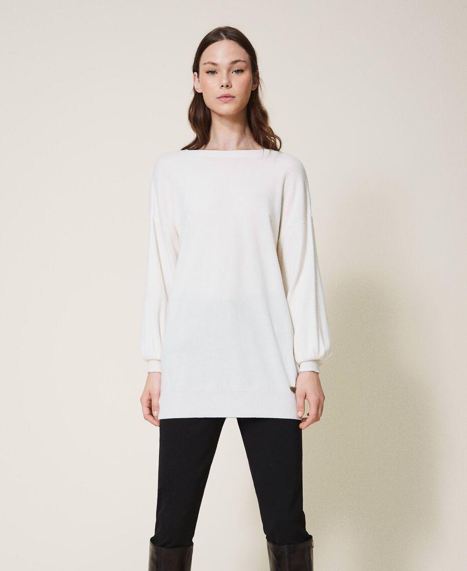 """Maglia in misto lana con fiocco Bicolor Bianco """"Neve"""" / Nero Donna 202TT3172-02"""