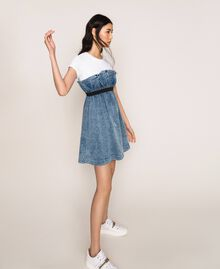 Denim dress with gathering Denim Blue Woman 201MT225A-02