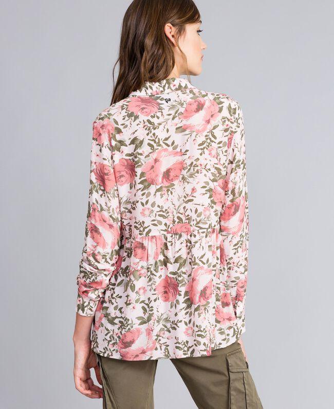 Rose print viscose blouse Cloud Rose Pink Rose Print Woman JA82PN-04