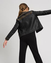 Faux leather biker jacket with studs Black Child 192GJ2020-03