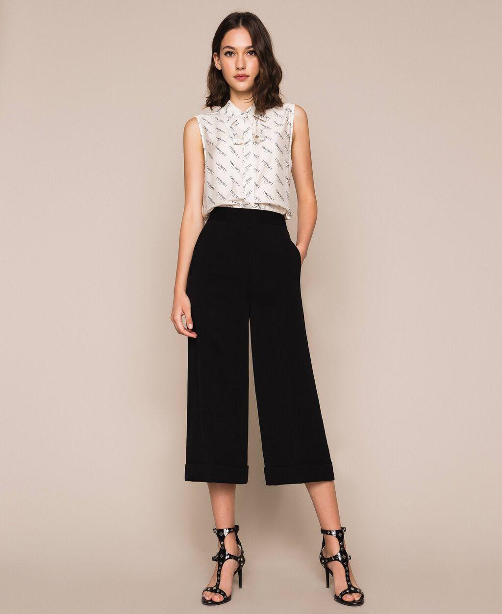 Wide georgette trousers