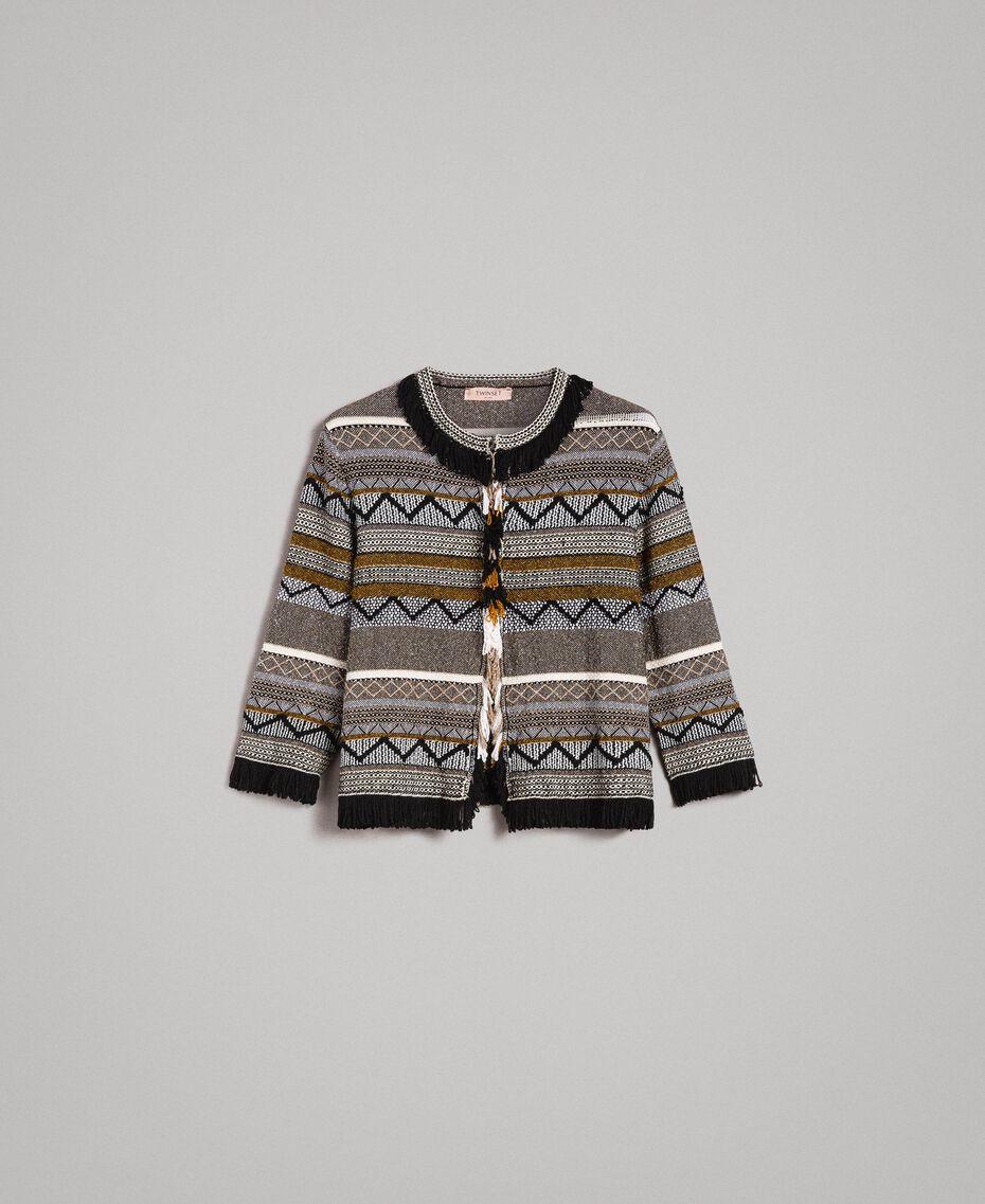 Rundhals-Jacke mit Inlay-Details und Fransen Streifen Multicolour Neutral Grau Frau 191TT3161-0S