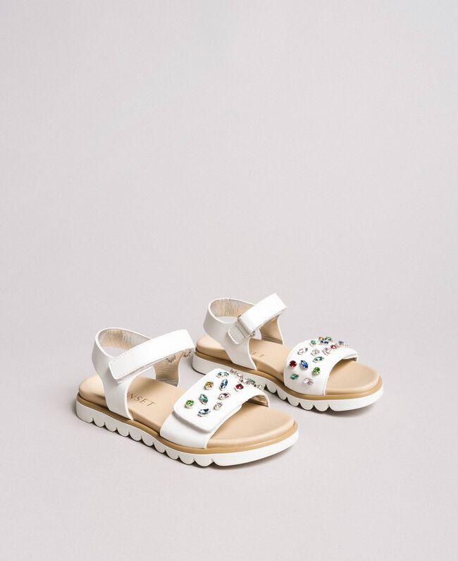 Sandals with multicolour rhinestones White Child 191GCJ150-01