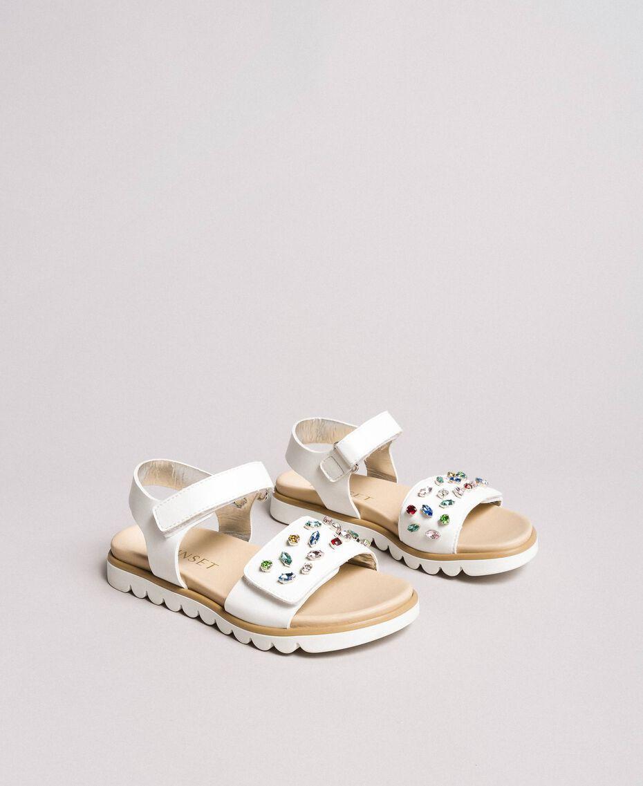 Sandales ornées de strass multicolores Blanc Enfant 191GCJ150-01