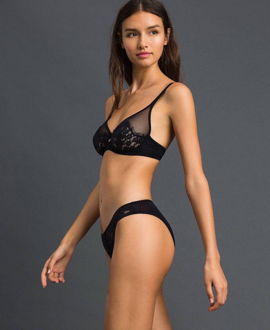 Underwire lace and tulle bra Black Woman 192LI6155-01