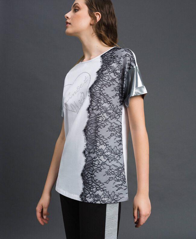Lace and micro studs T-shirt Black / Optical White Woman 192LI2WAA-01
