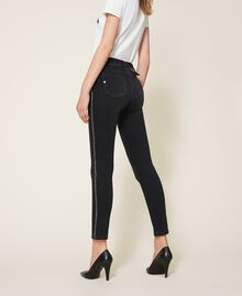 Push up jeans with chain and rhinestones Black Denim Woman 202MP2420-03