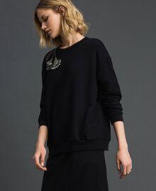 Sweat avec broderie florale de strass et de sequins Noir Femme 192TP2731-01