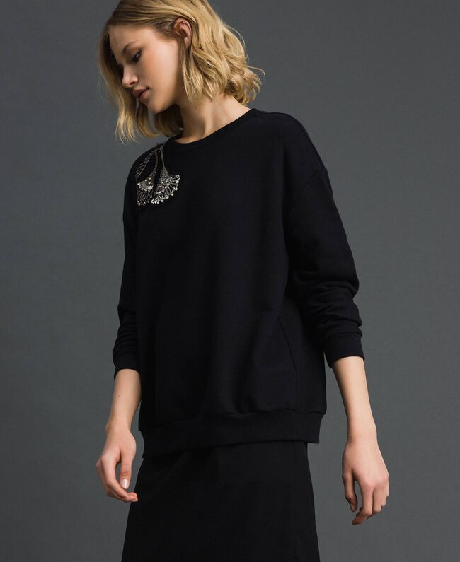 Sweatshirt with floral rhinestone and sequin embroidery Black Woman 192TP2731-01