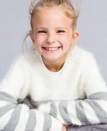 """Maxi maglia in misto lana a righe Bicolor Off White / Grigio """"Grey Stone"""" Bambina GA83E1-04"""