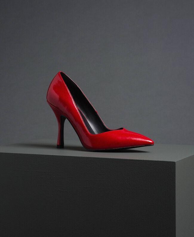 Scarpe décolleté in vernice Rosso Papavero Donna 192MCP038-01