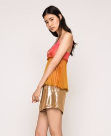 """Pleated chiffon top """"Sugar Coral"""" Red / Golden Yellow Fadeout Print Woman 201TT2523-03"""