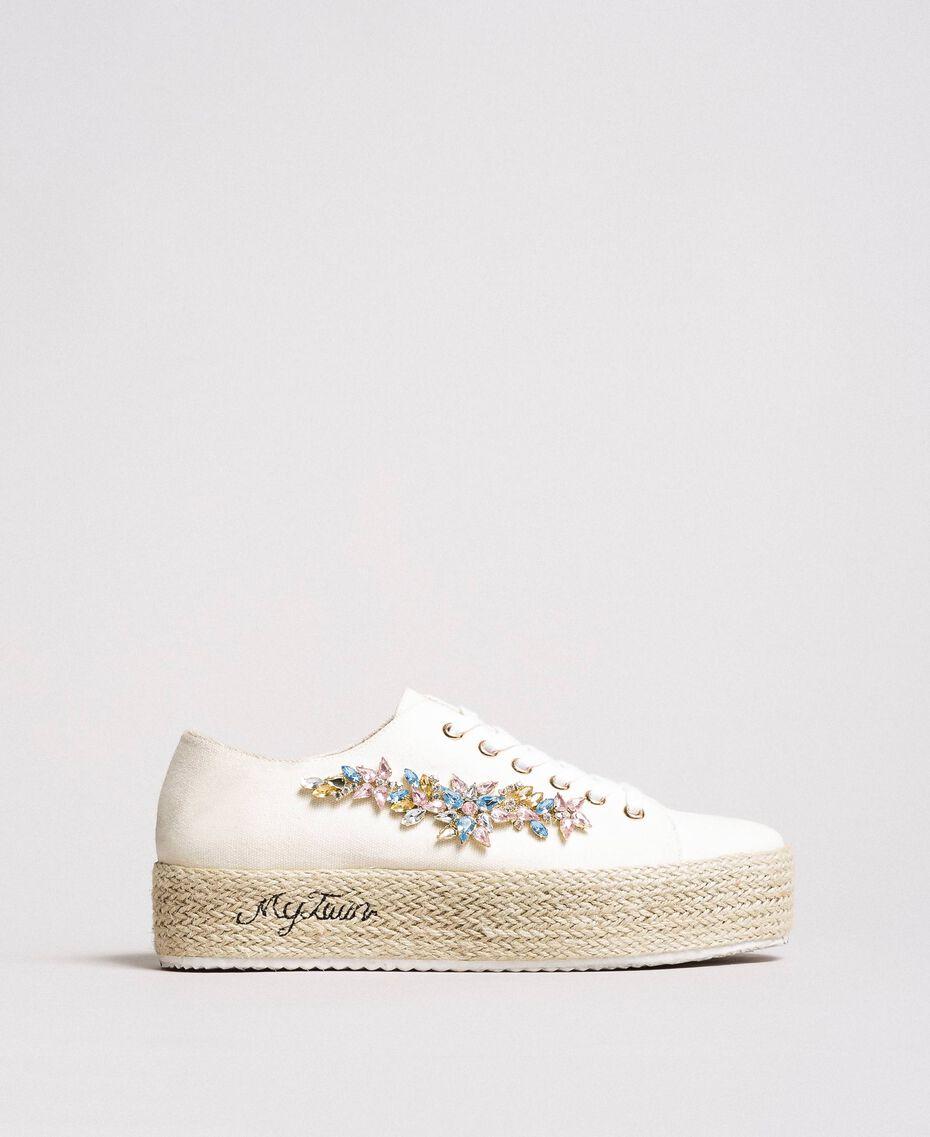 Sneakers mit Steinapplikation und Logo Porzellan Beige Frau 191MCP03A-02