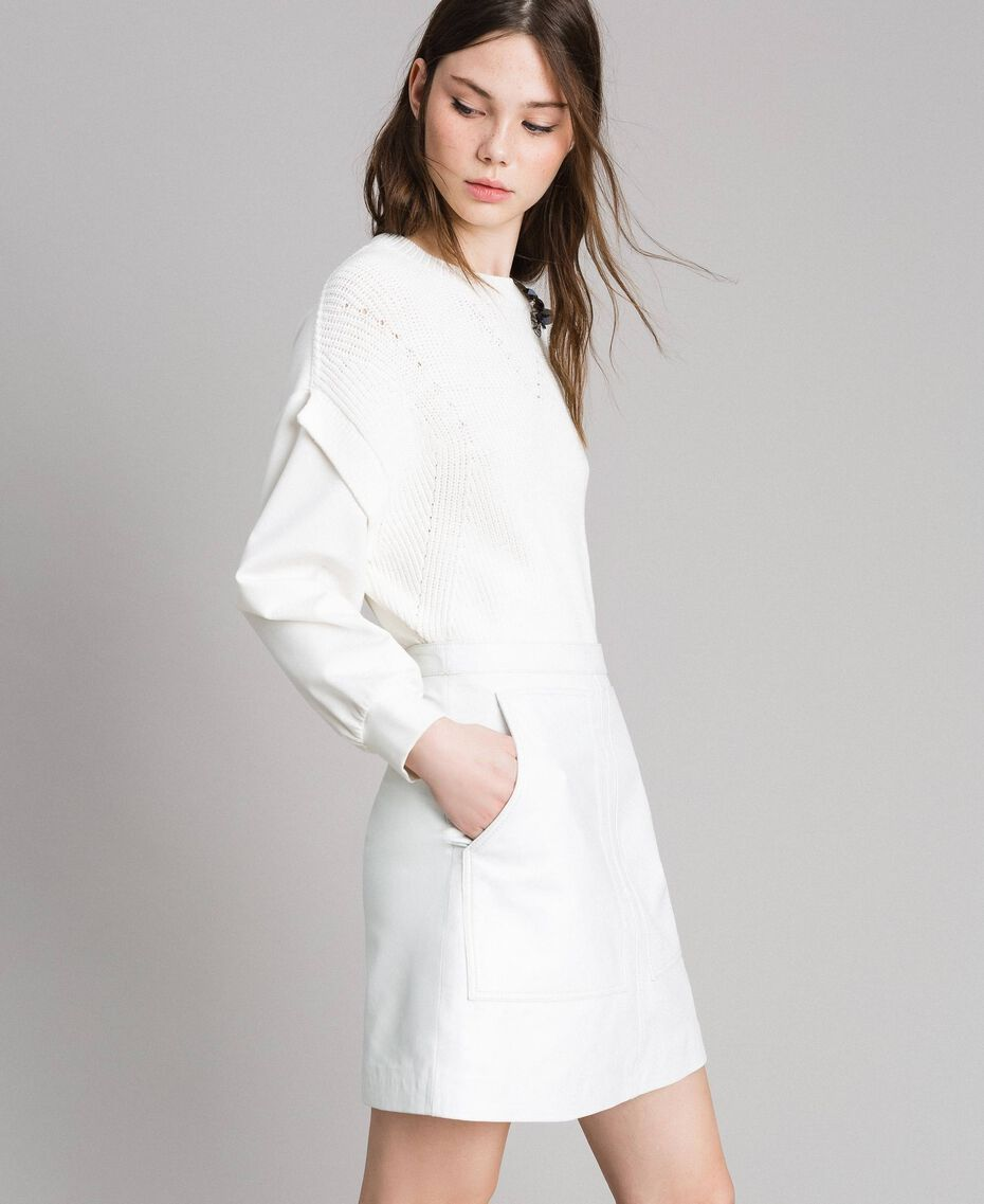 Minirock aus Leder Weiß Frau 191TP2163-02