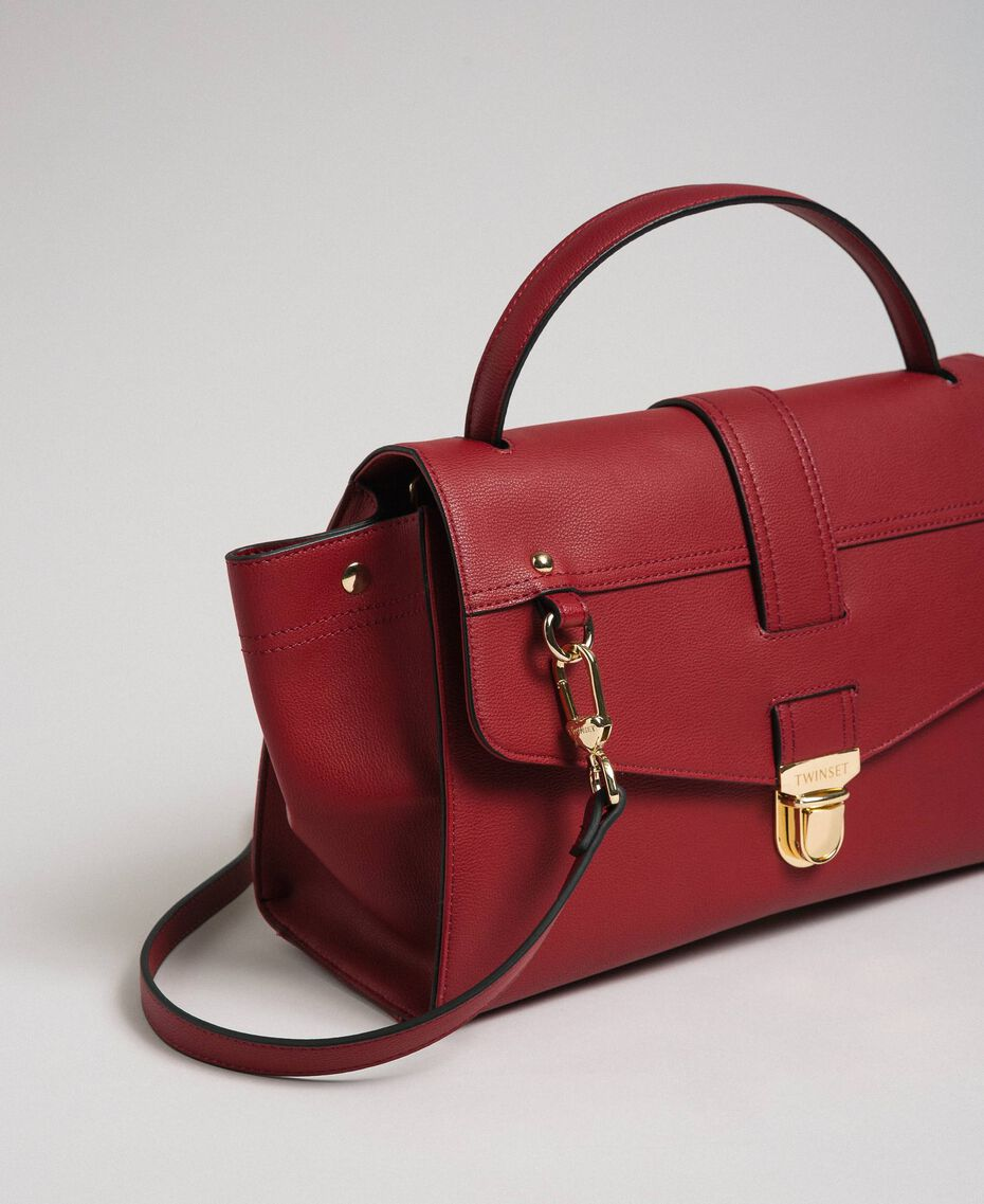Faux leather satchel bag with flap Indian Red Red Woman 192TA7130-01