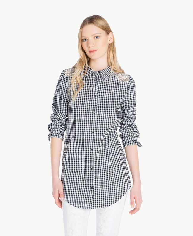 Long gingham shirt Two-tone Optical White / Black Gingham Woman JS82ER-01