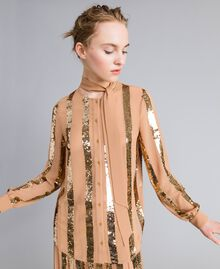 Georgette sequin shirt Camel Woman PA82J2-02